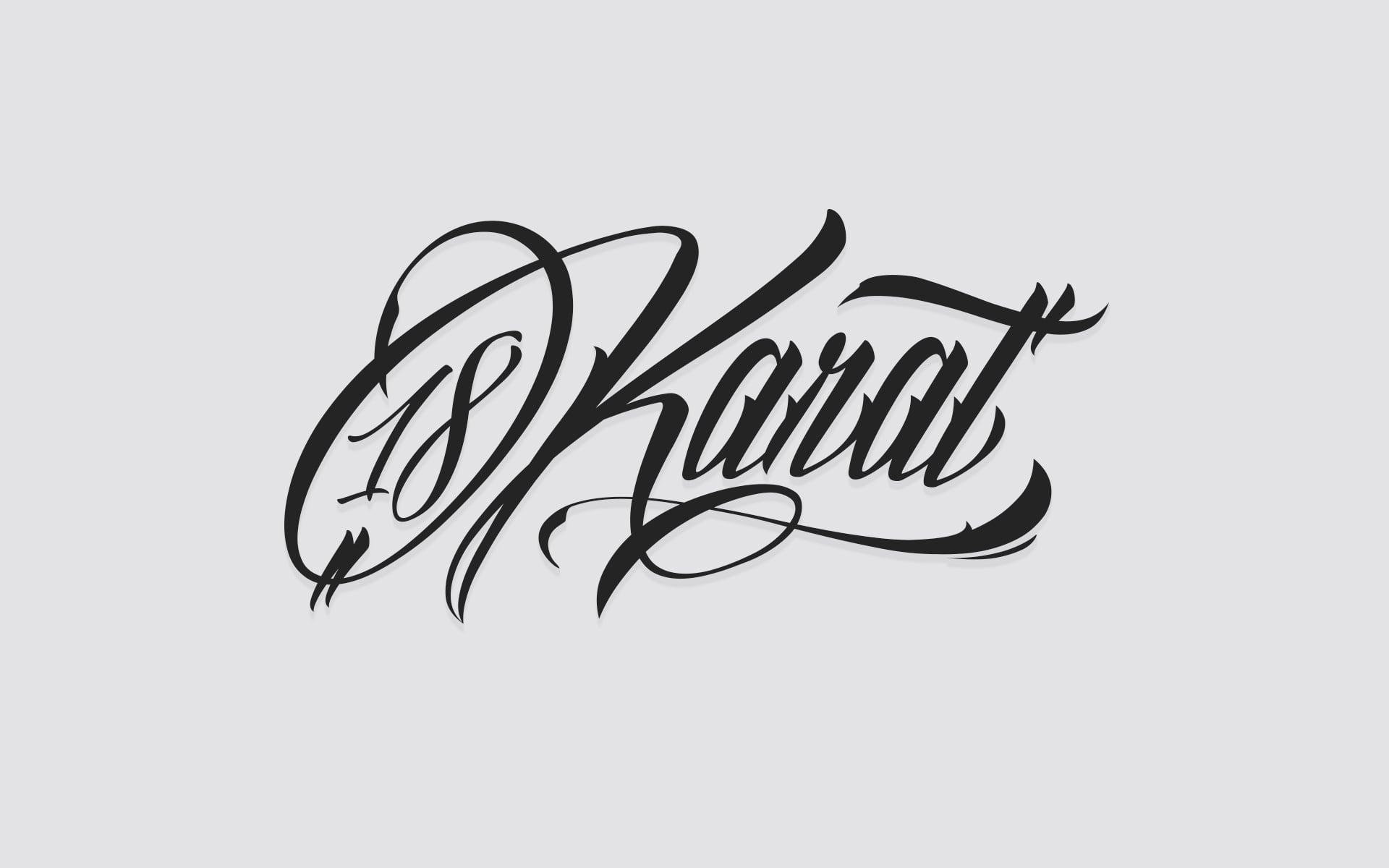 18 Karat Logo Schriftzug