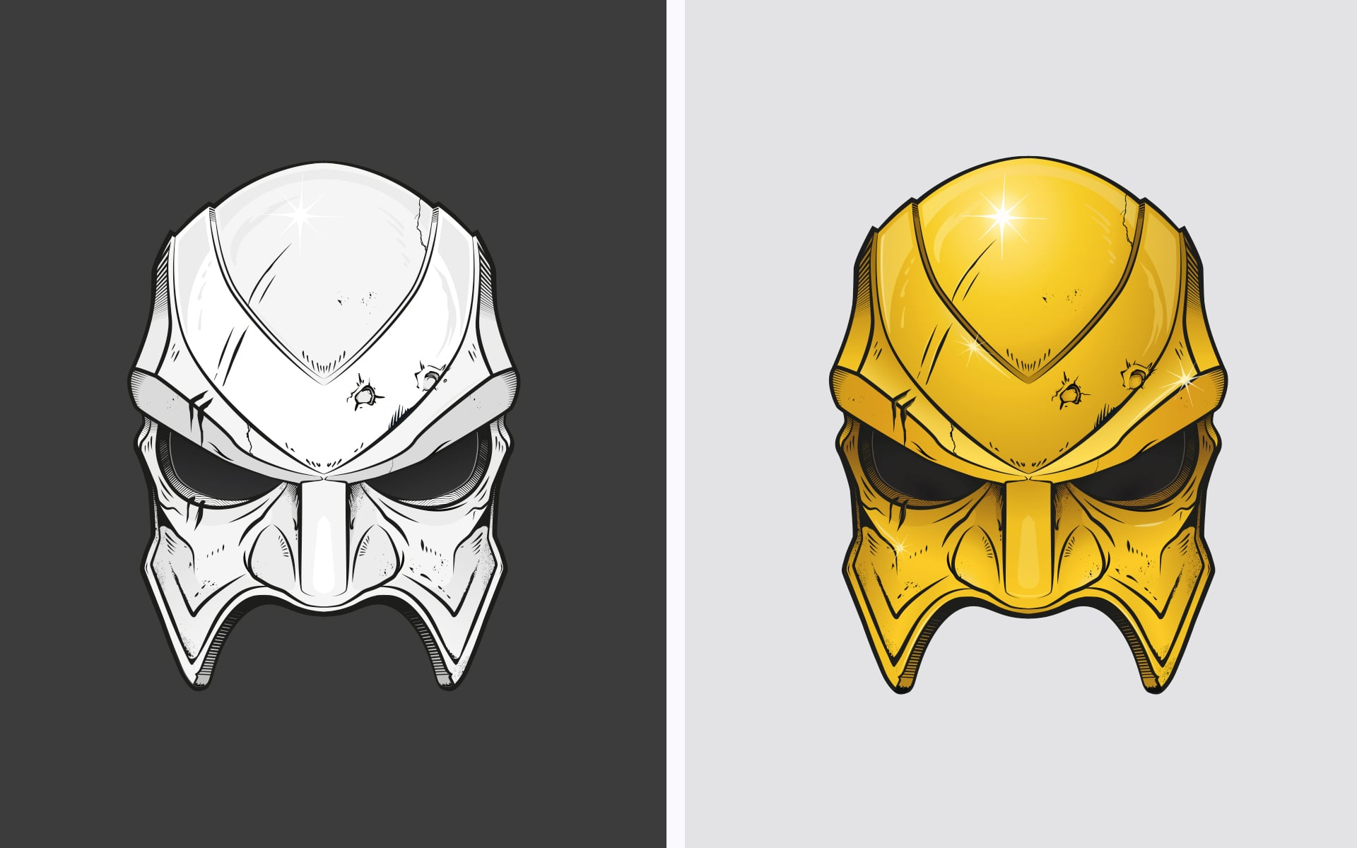 18 Karat Illustration Goldene Maske
