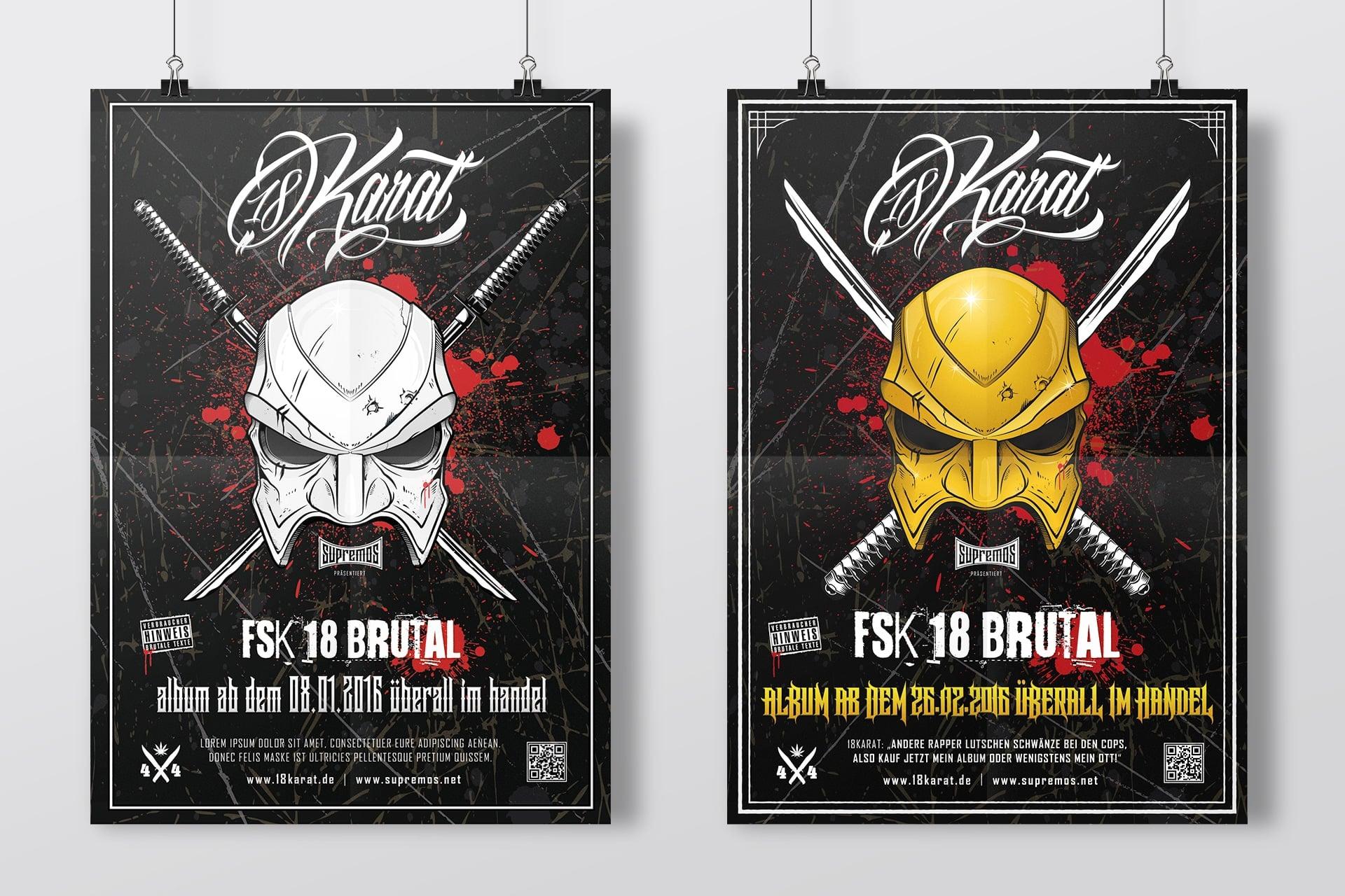 """18 Karat Poster """"FSK18 Brutal"""" DIN A1"""