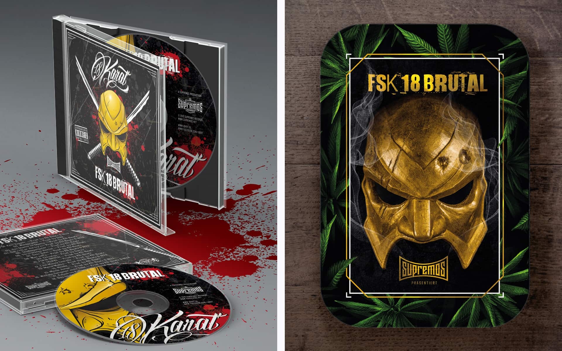 "18 Karat Grafik-Design Album CD Cover ""FSK18 Brutal"" u. Box Alternative"