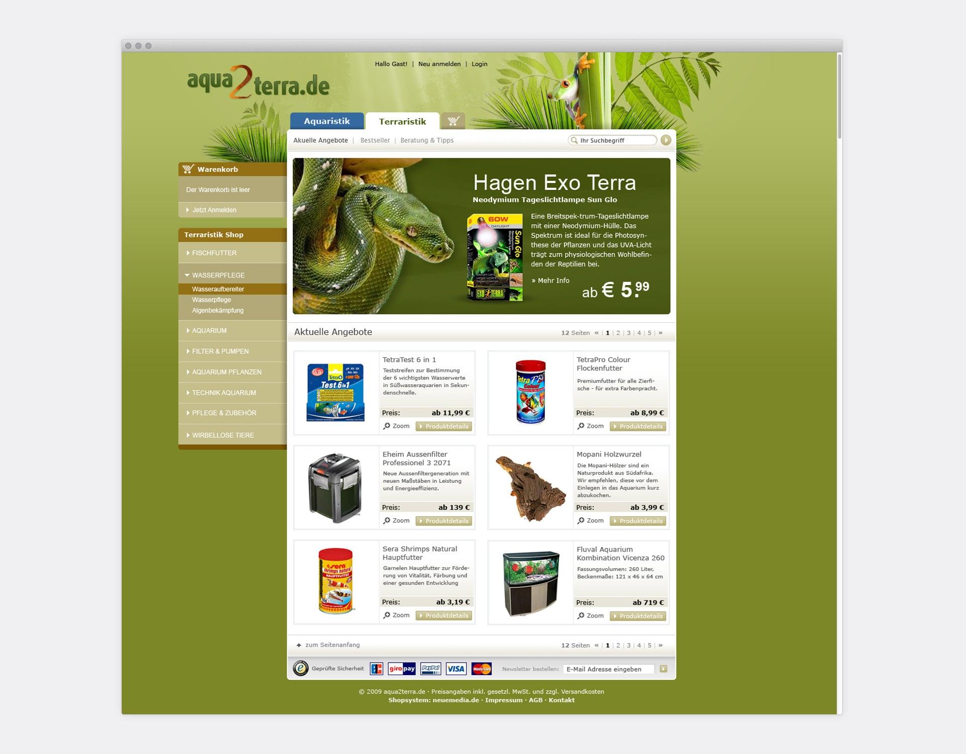 Storefront aqua2terra Online-Shop