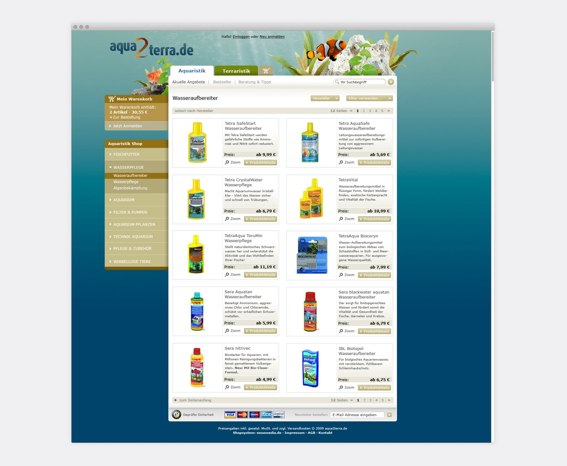 Produktliste / Kategorieseite aqua2terra Online-Shop