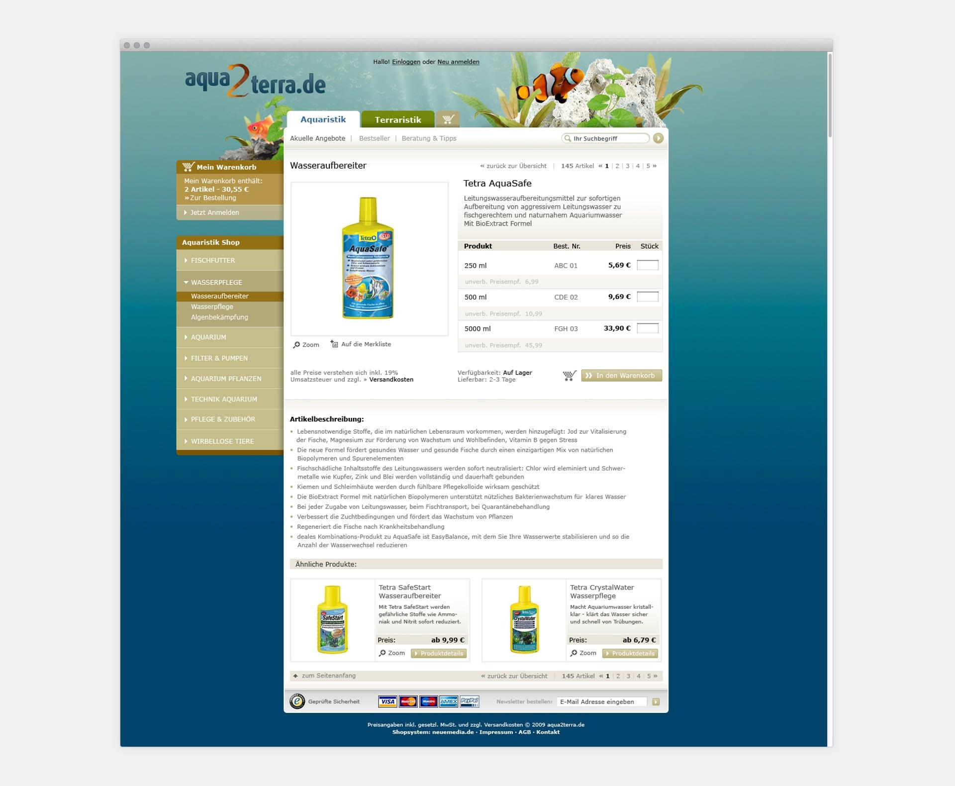 Produktdetailseite aqua2terra Online-Shop