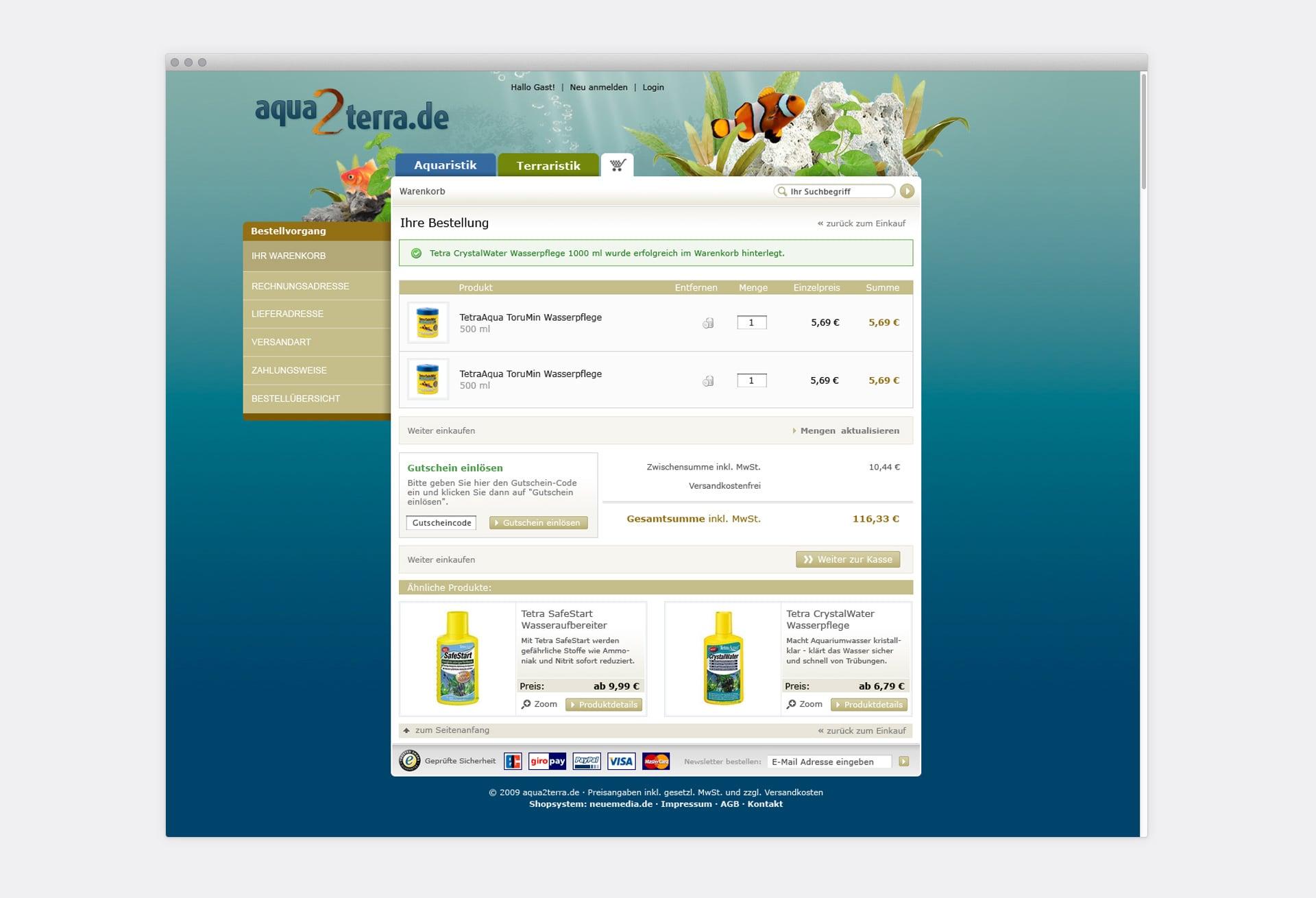 Warenkorb aqua2terra Online-Shop