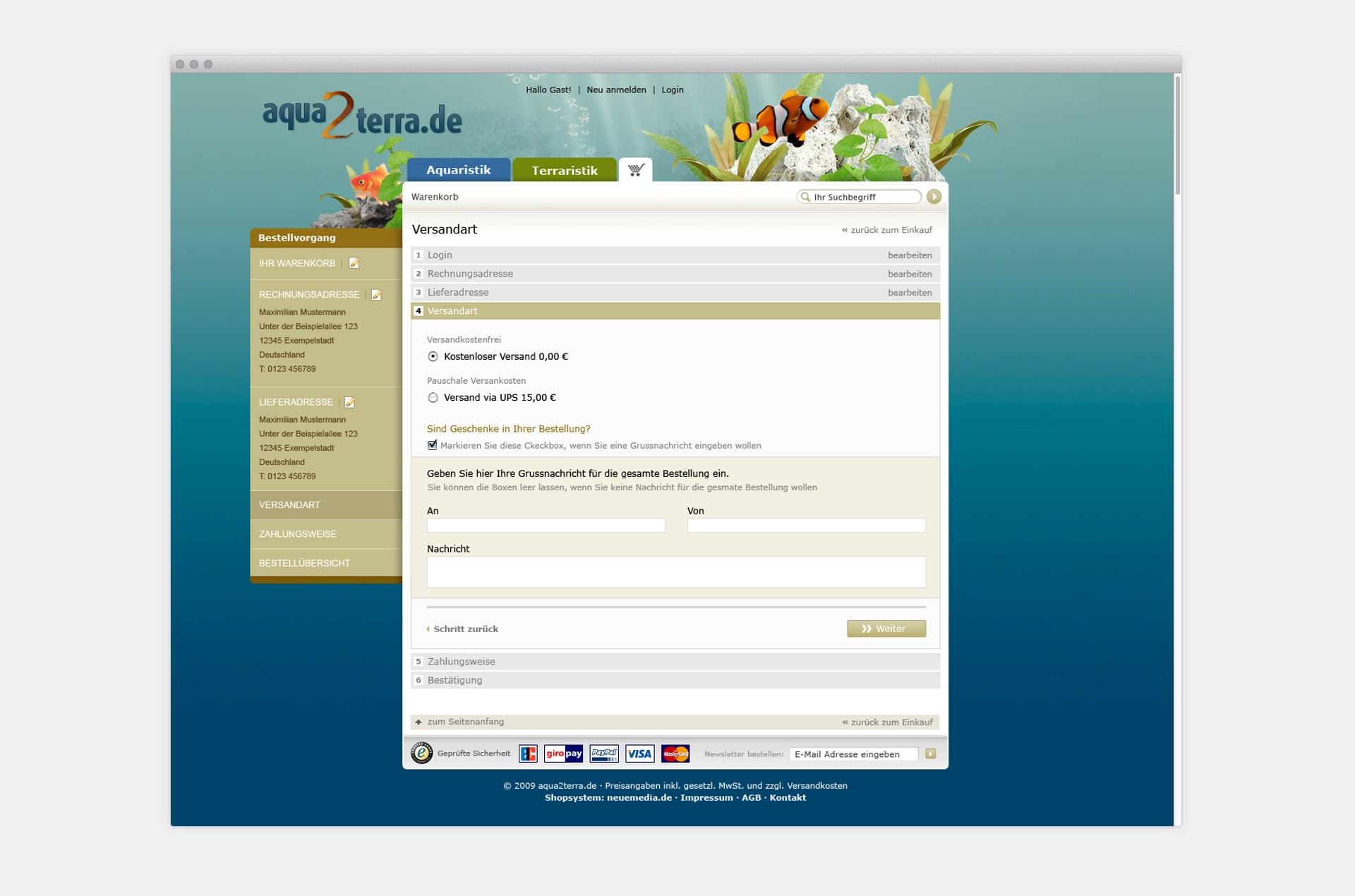 Checkout aqua2terra Online-Shop