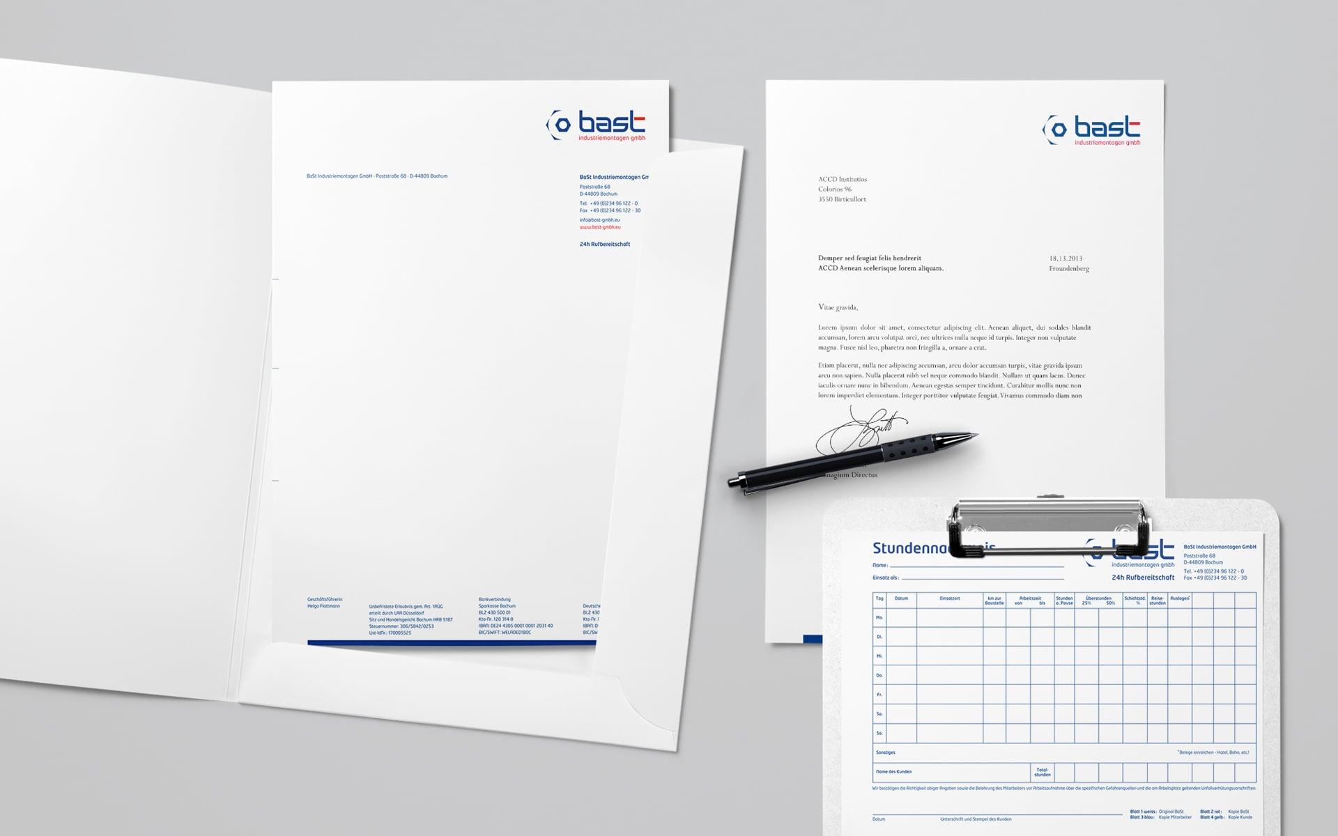 Bast Industriemontagen Briefbogen und Stundennachweis