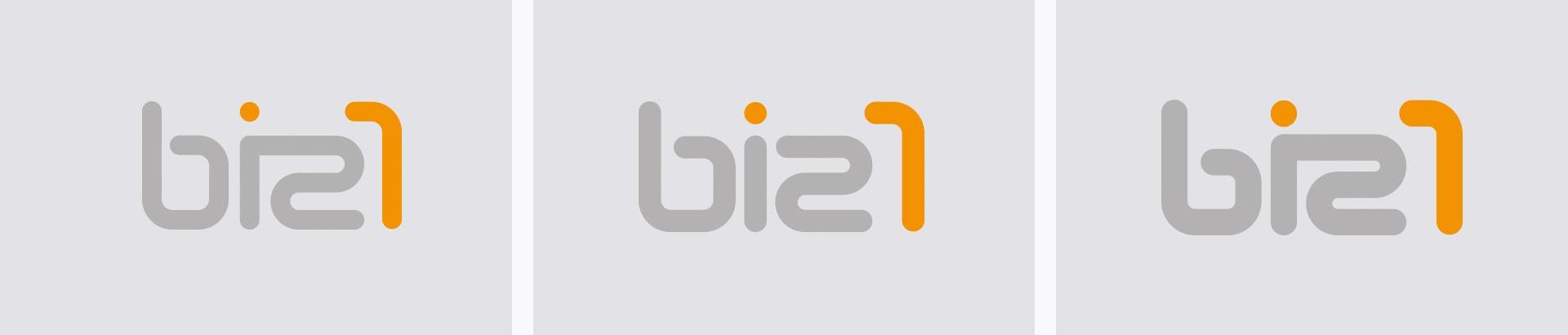 Logovarianten mit unterschiedlicher Typografie biz1 Corporate-Design