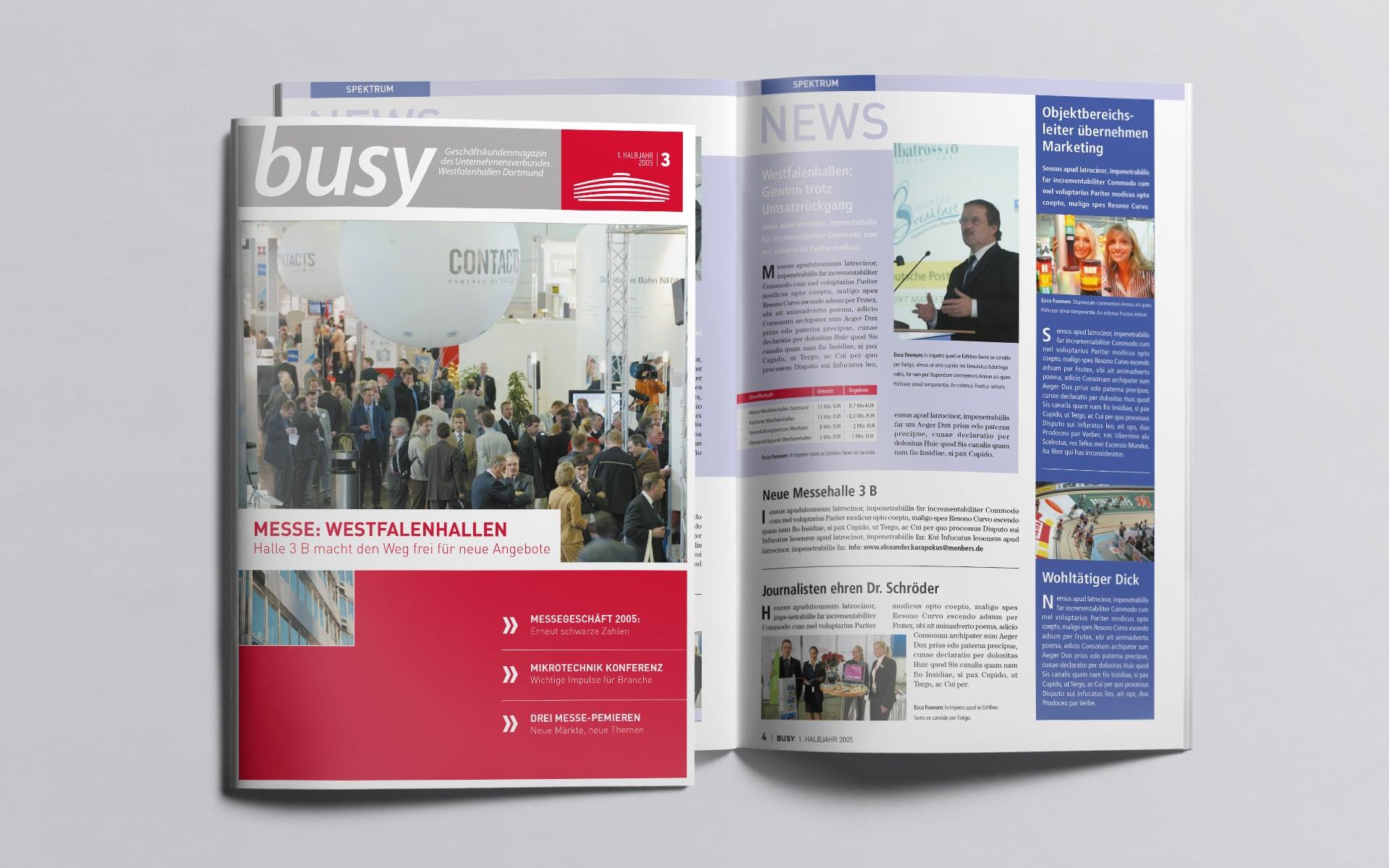 Titel und Inhaltsangabe für das busy Magazin