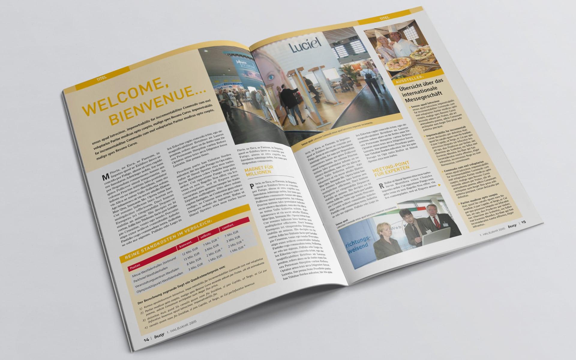 Doppelseite Entwurf für das busy Magazin