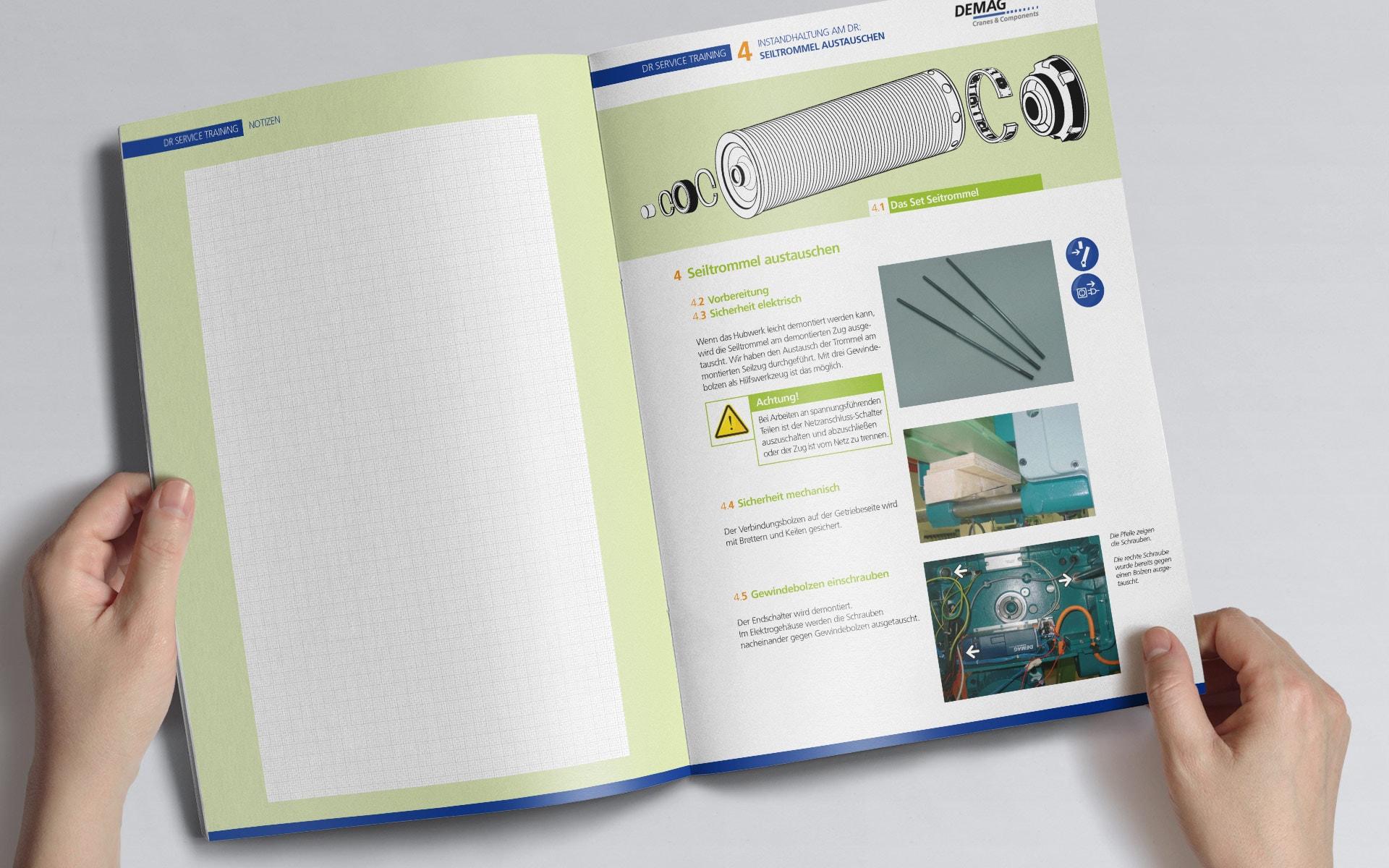 Doppelseite Fehleranalyse Seiltrommel Diagnosehandbuch Demag Troubleshooting