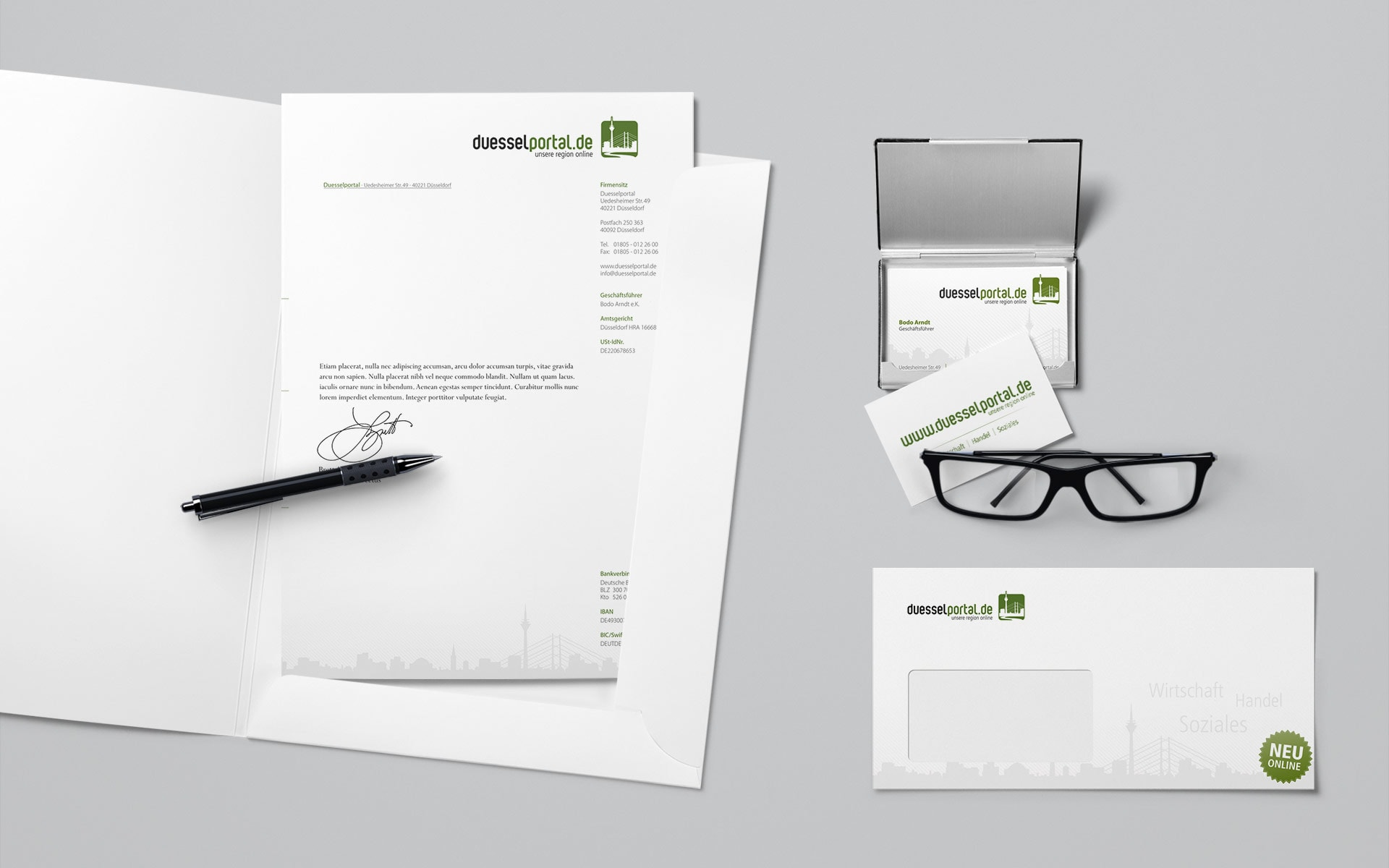 Geschäftsunterlagen Düsselportal Corporate-Design