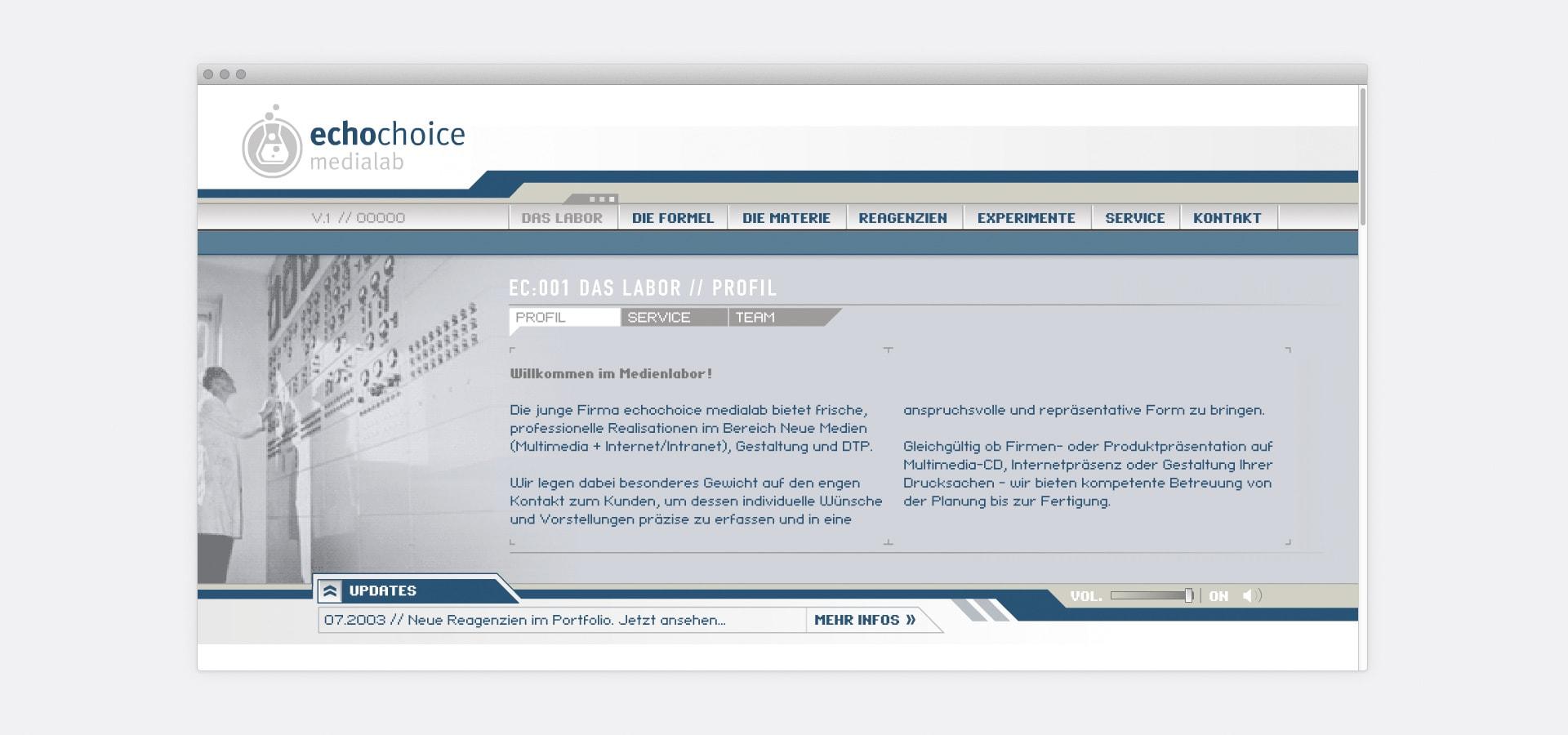 Kategorieseite echochoice medialab Website