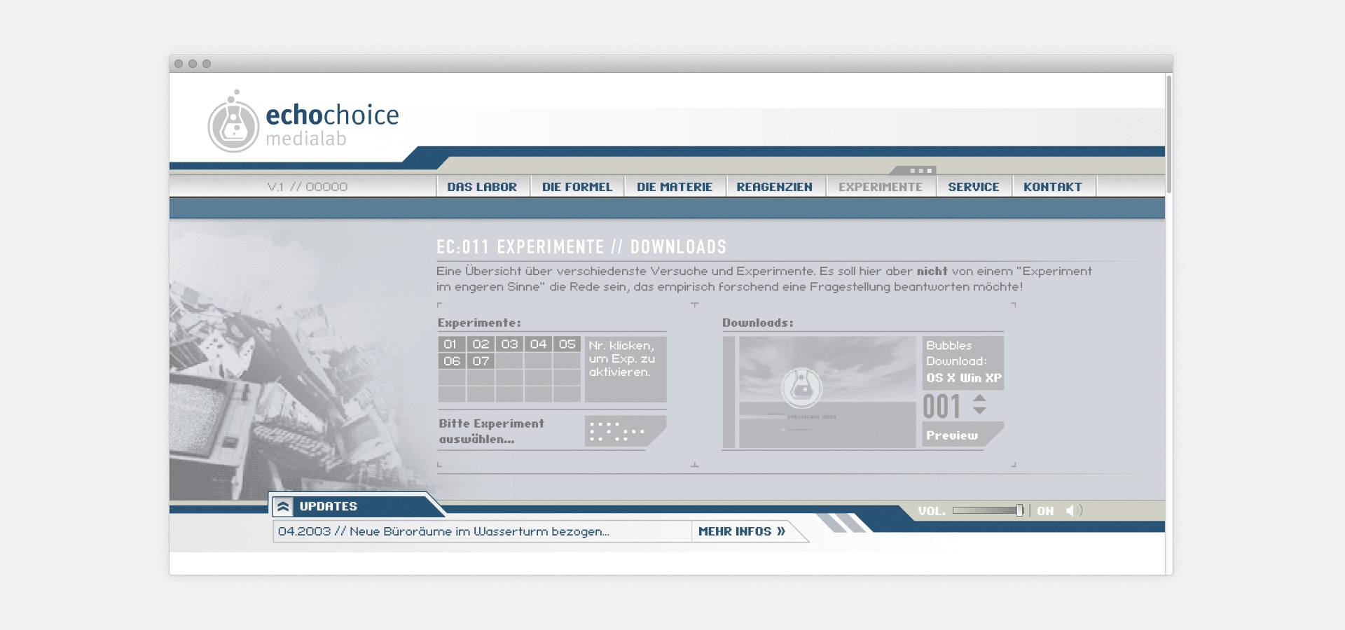 Spielwiese, Experimente echochoice medialab Website