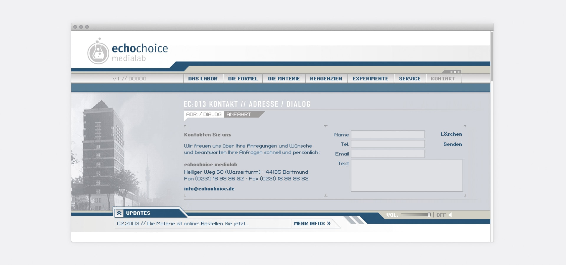 Kontaktseite echochoice medialab Website