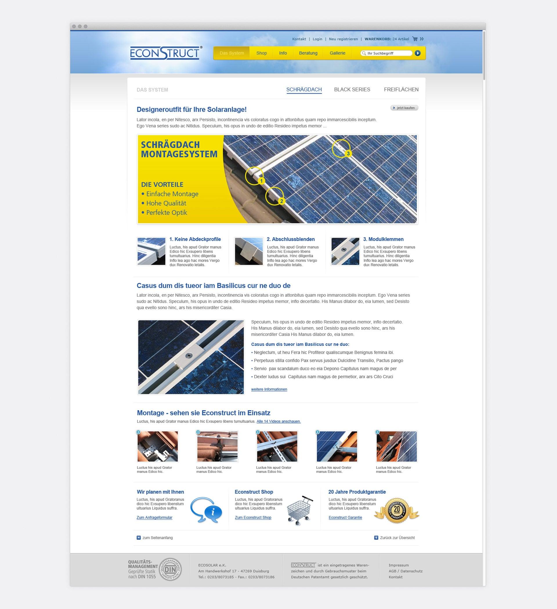 Kategorieseite System Schrägdach econstruct Webshop