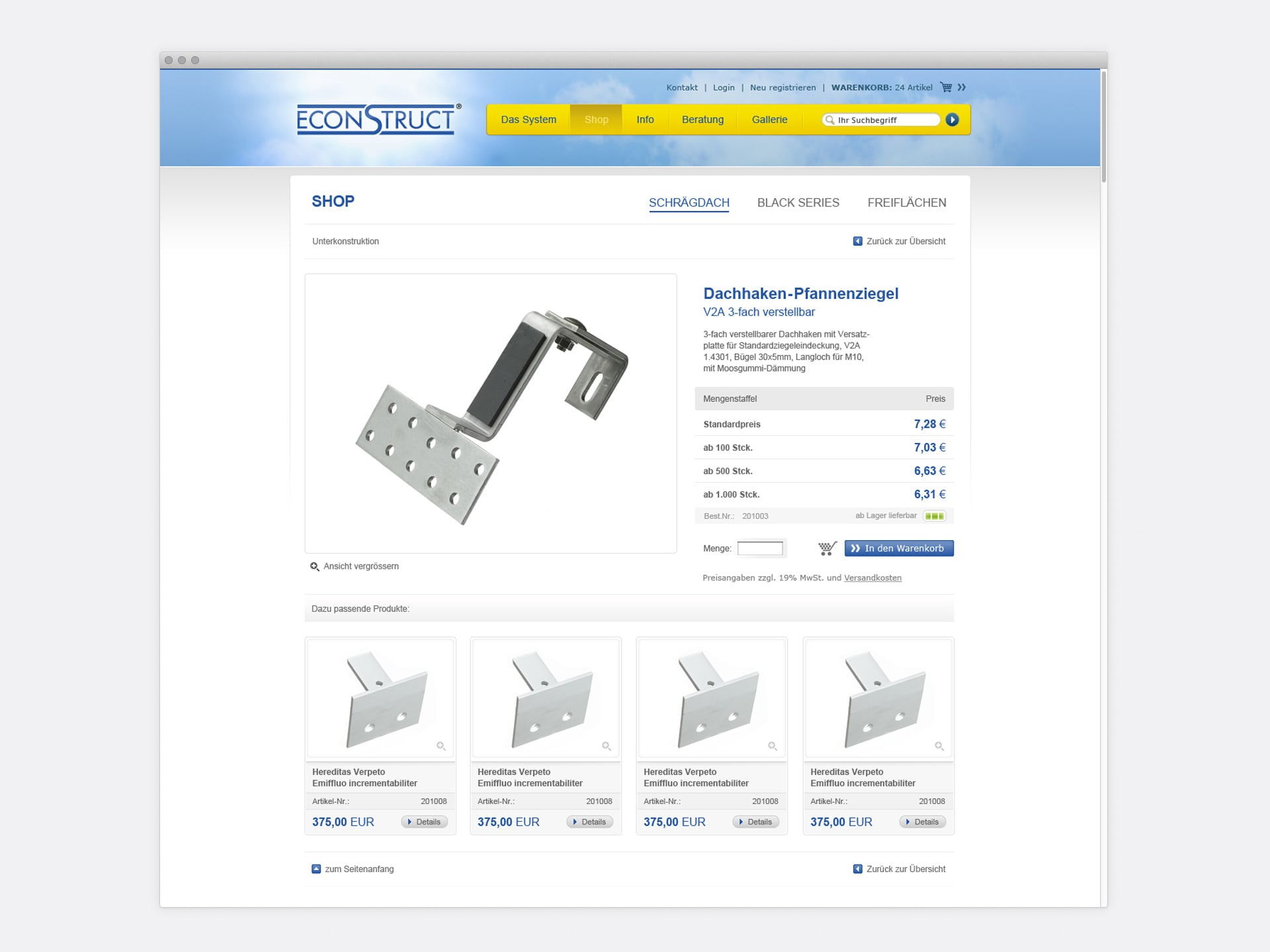 Produktseite und Details econstruct