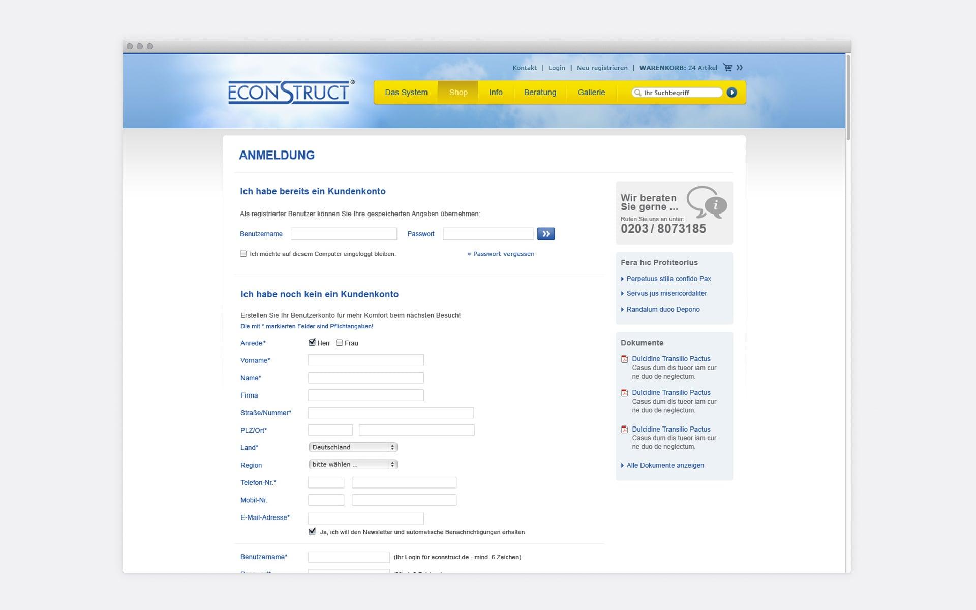 Anfrageformular econstruct