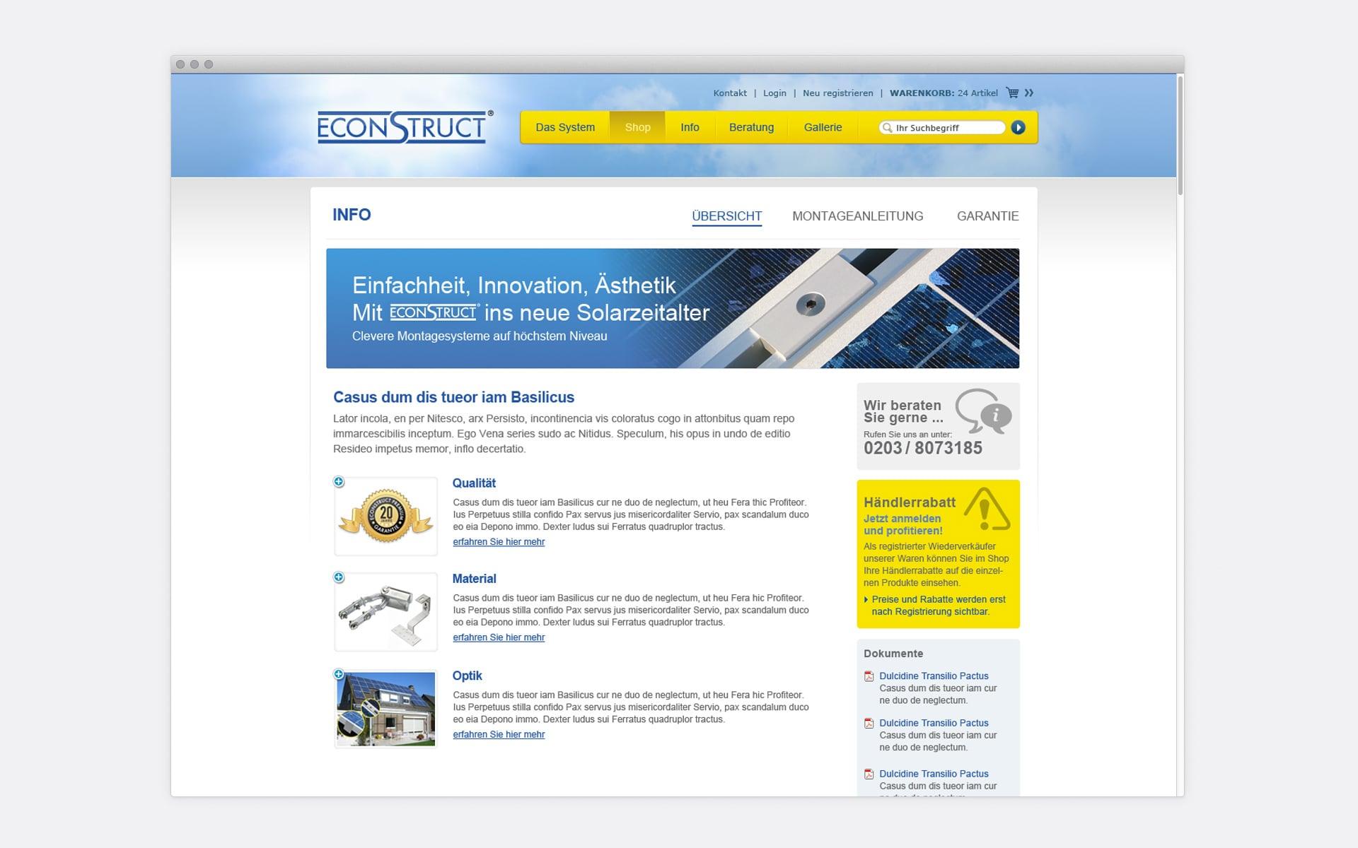 Contentseite mit Bespielinhalten econstruct