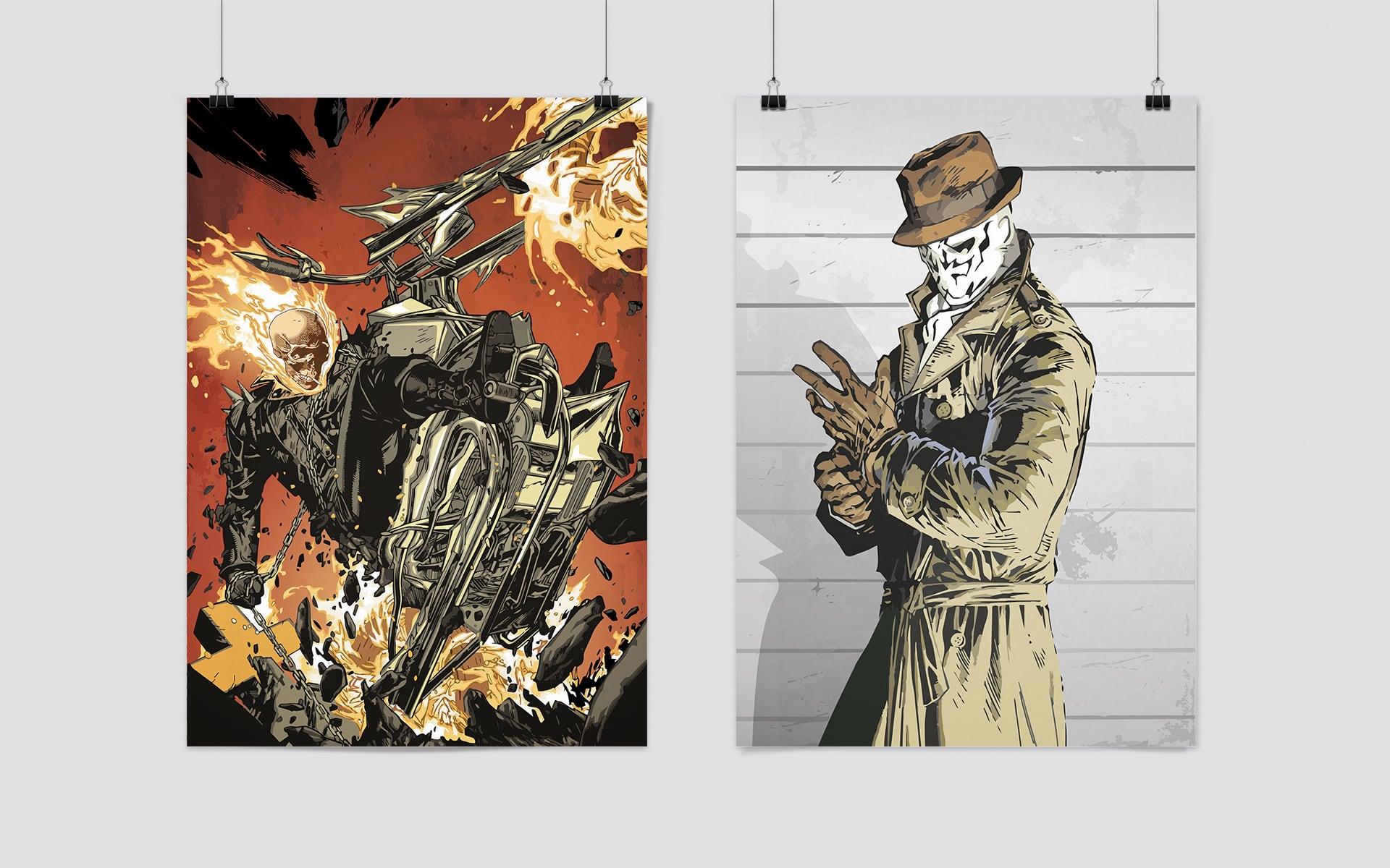Ghostrider und Rorschach Illustration
