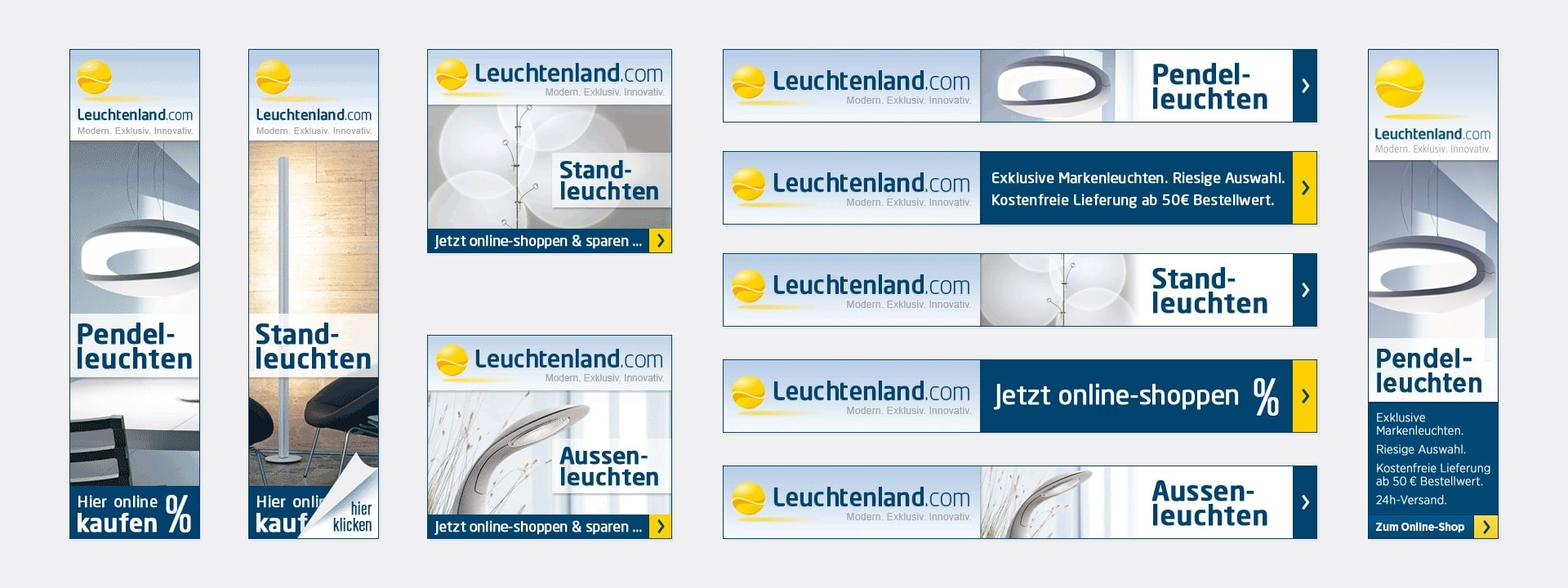 Banner: Skyscraper, Rectangle und Leaderboard Leuchtenland.com Online-Shop