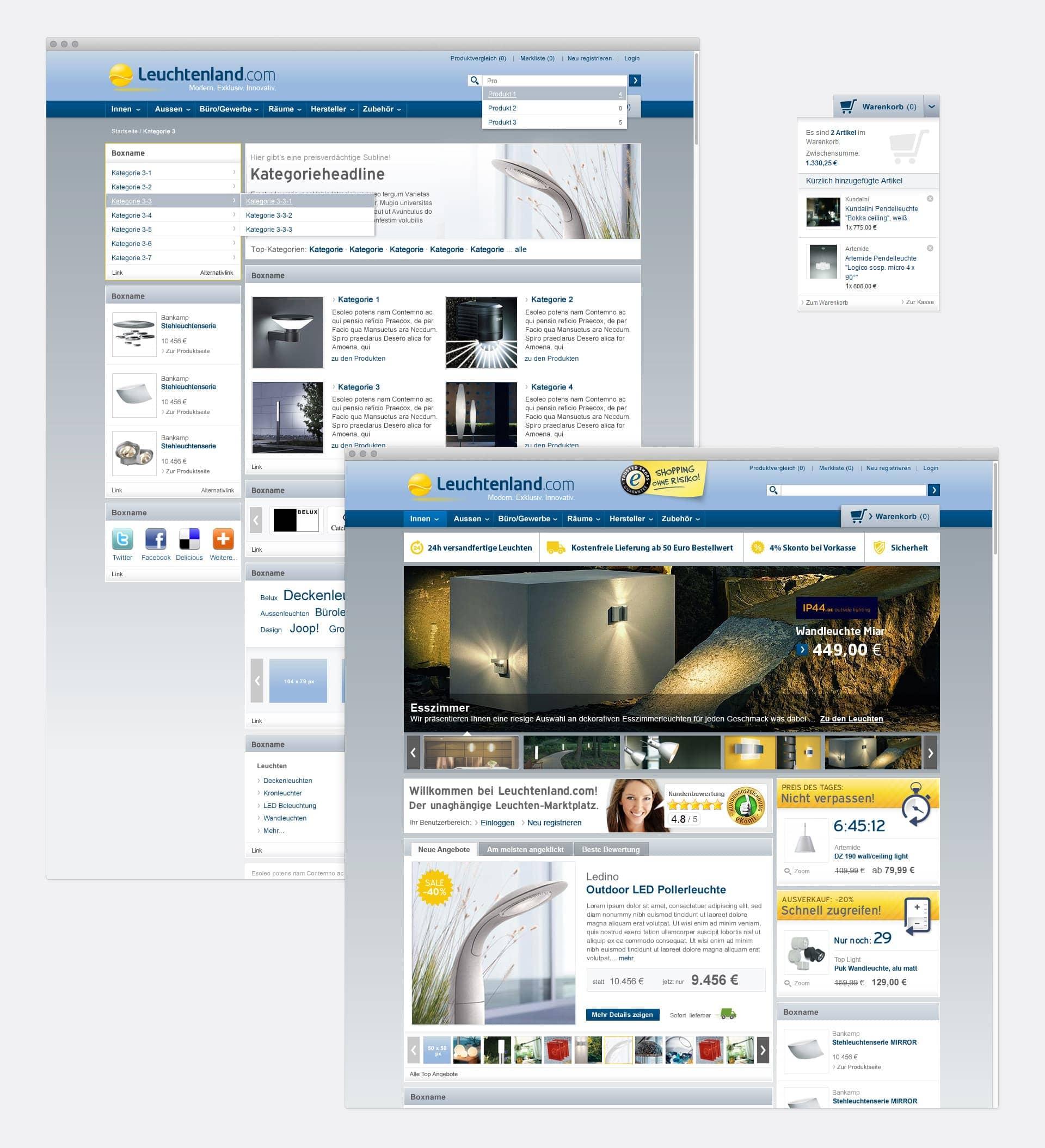 Startseite und Kategorieseite Leuchtenland.com Online-Shop
