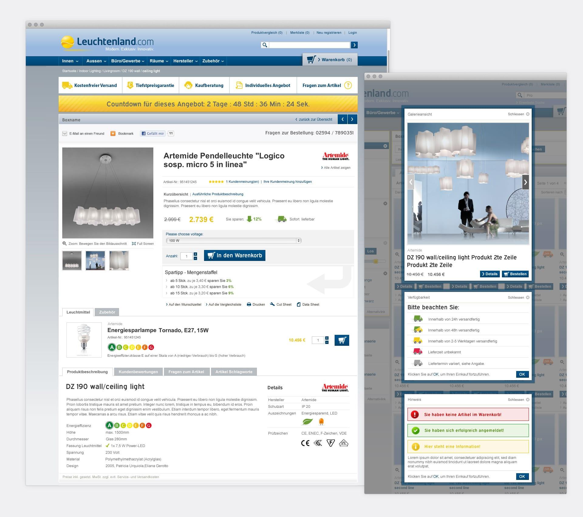 Produktedetailseite Leuchtenland.com Online-Shop