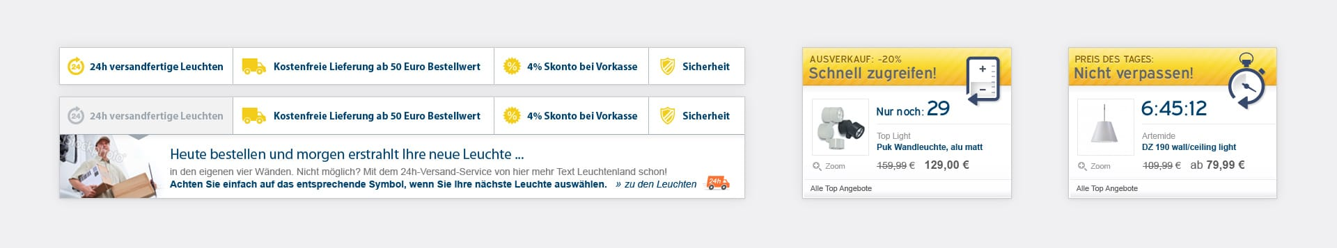 Informationsboxen Leuchtenland.com Online-Shop