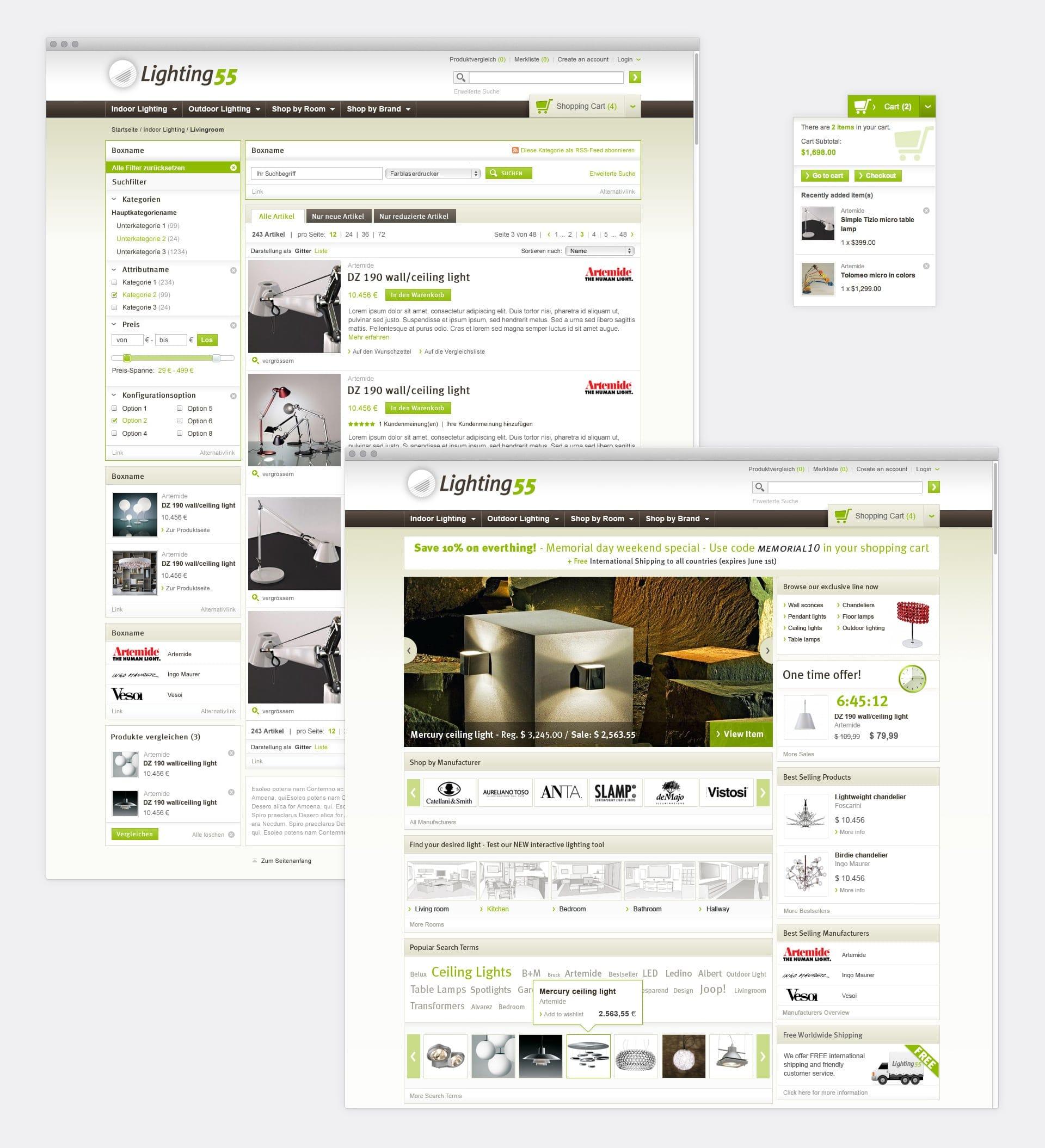 Filternavigation, Produktliste und Kategorieseite Lighting55.com