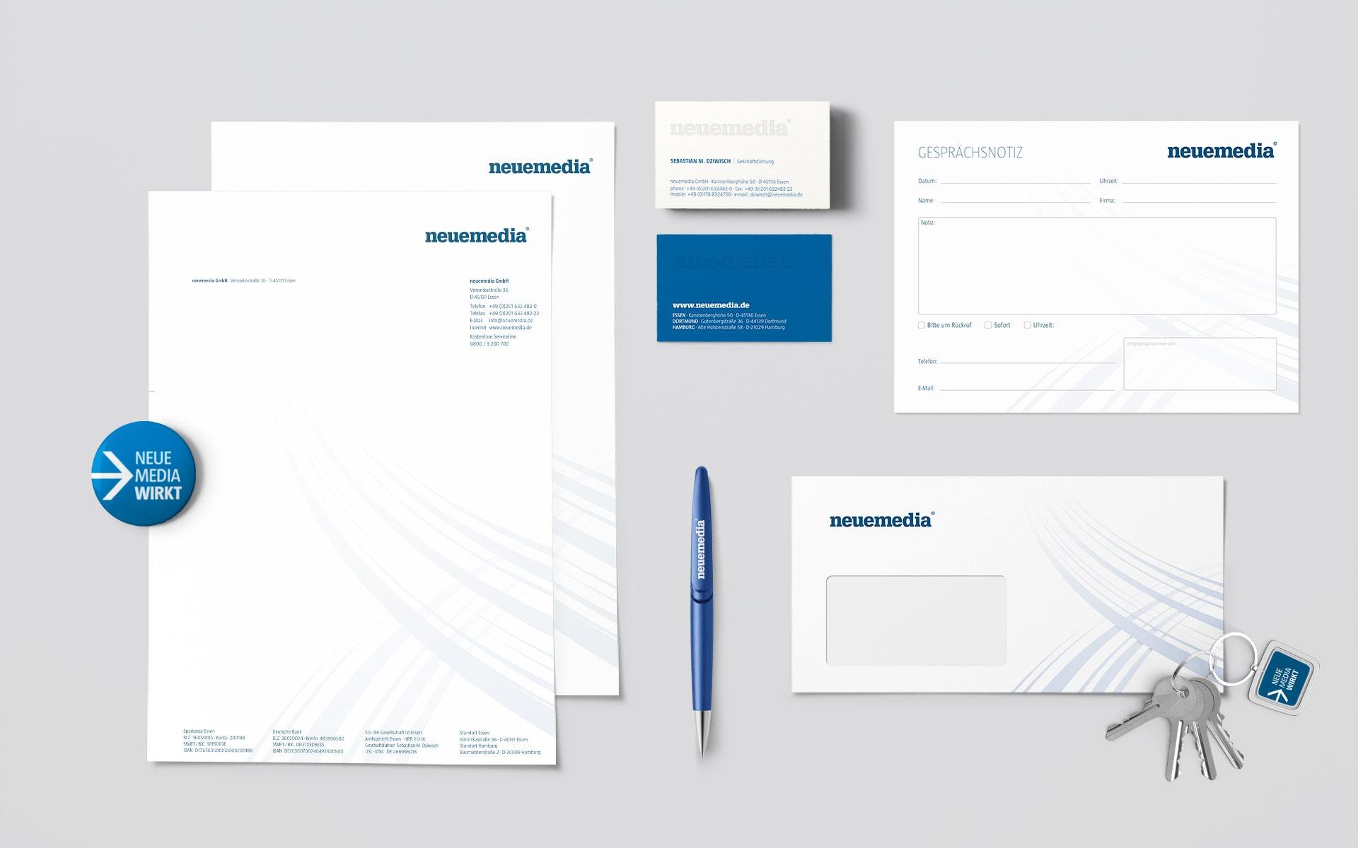 Geschäftsunterlagen neuemedia Corporate-Design
