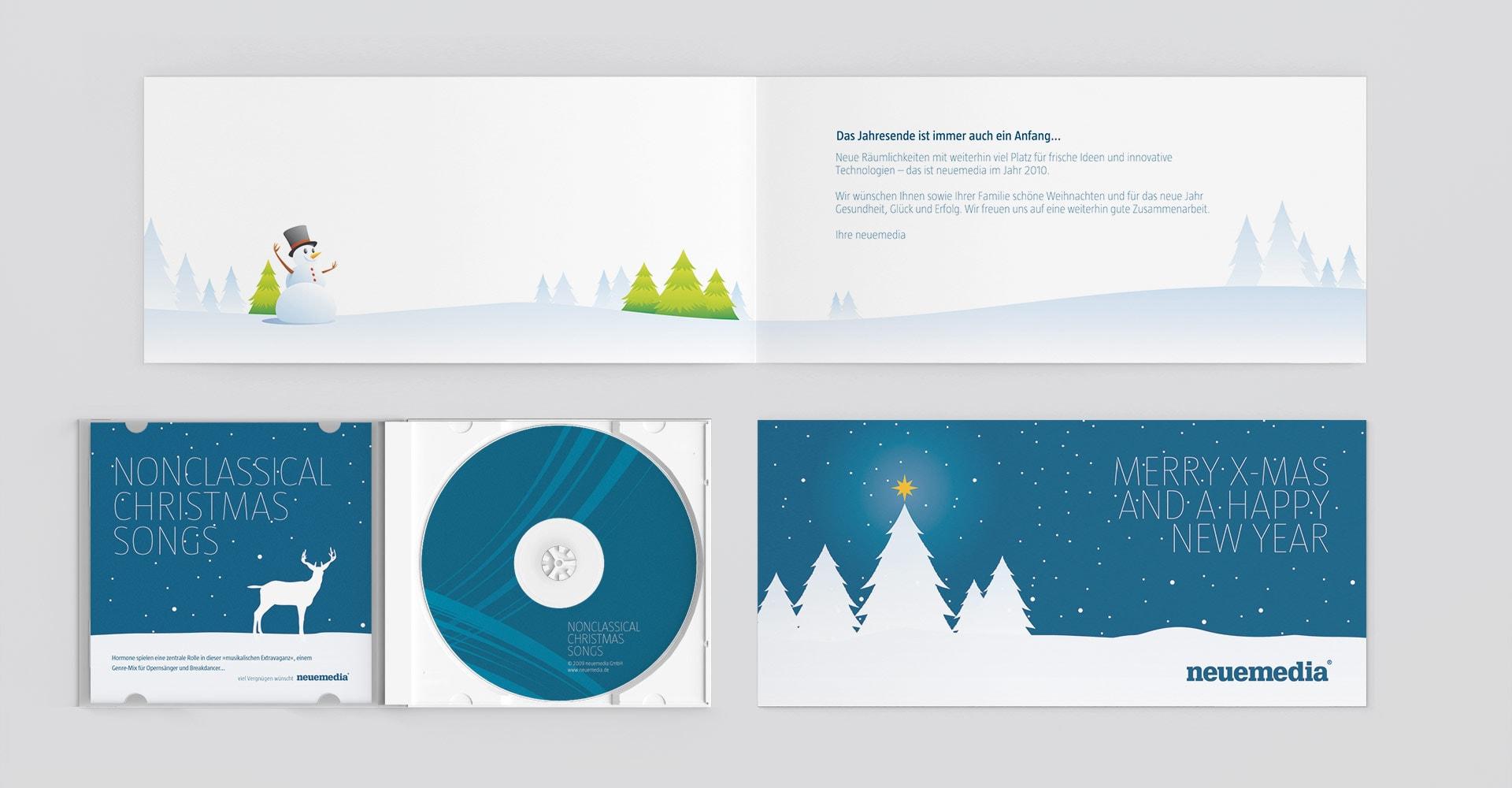 Weihnachtskarte und CD neuemedia Corporate-Design