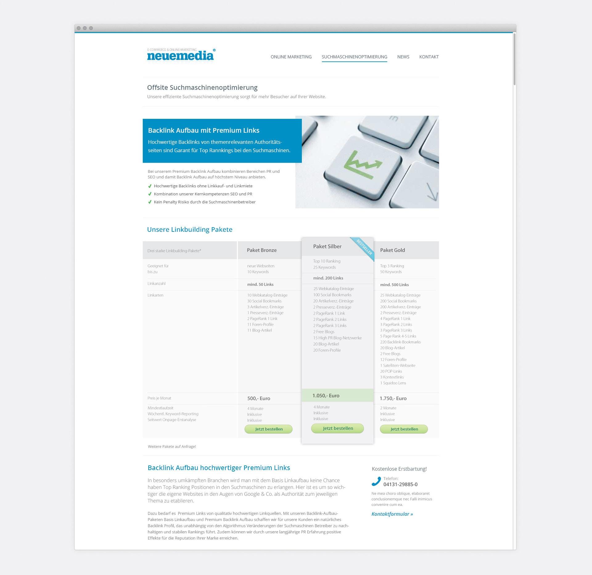 neuemedia Linkbuilding-Pakete