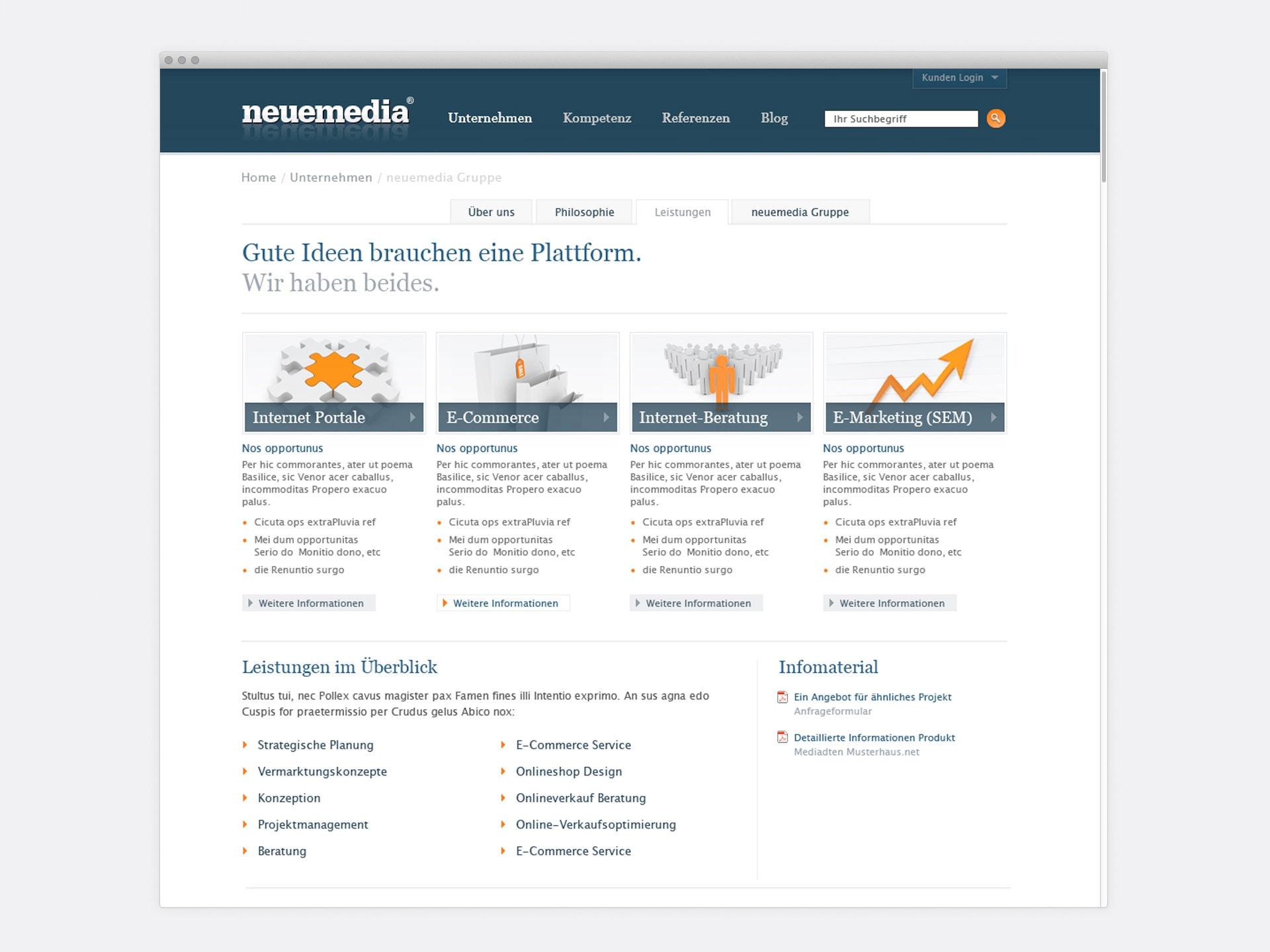 Leistungen neuemedia Website