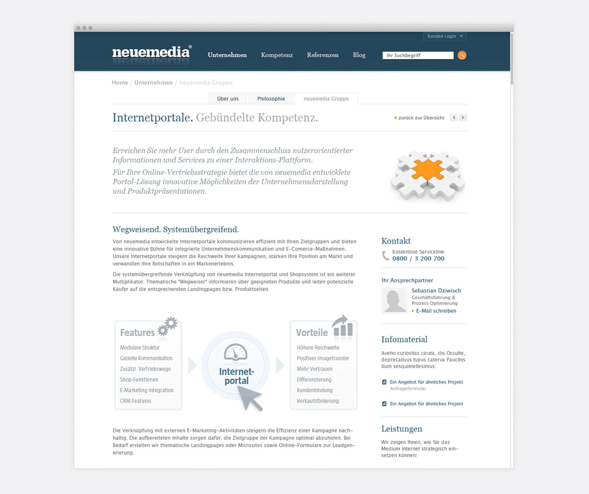 Leistungen Internetportale neuemedia Website