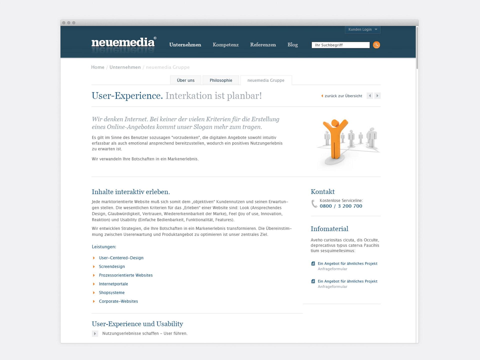 Leistungen User-Experience neuemedia Website