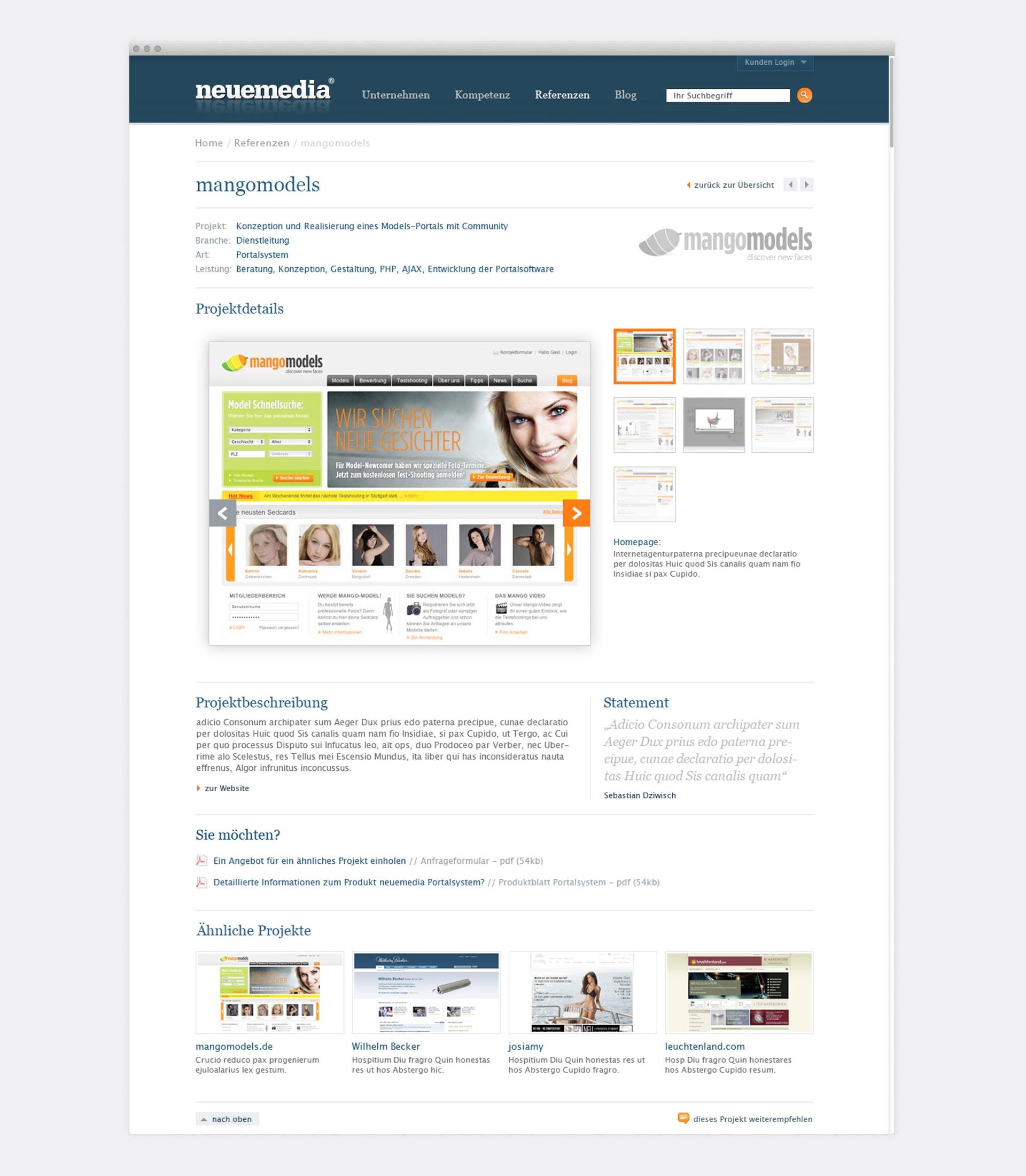 Portfolio Detailseite neuemedia Website