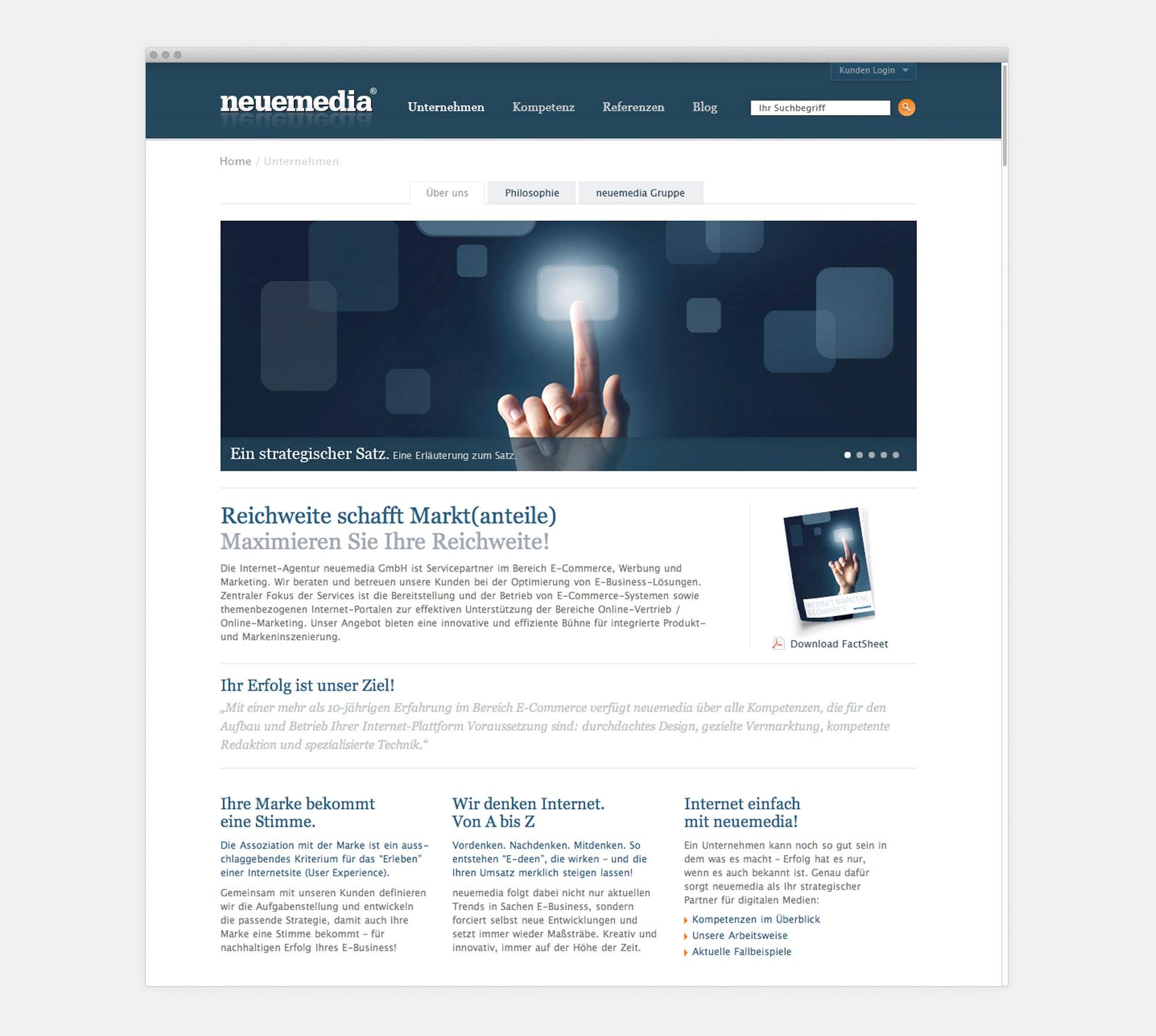 Unternehmensprofil neuemedia Website