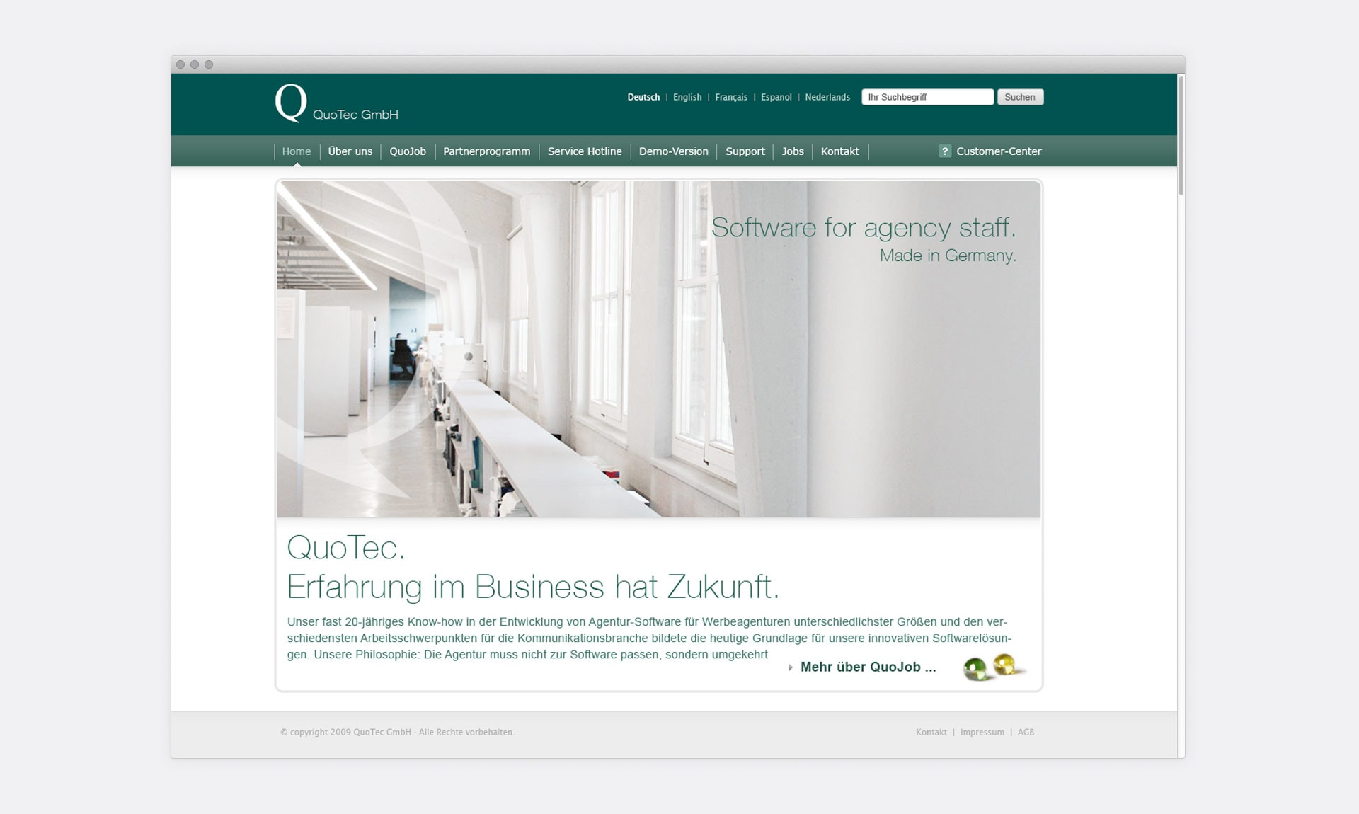 Quotec Homepage Screendesign Agentursoftware Quojob